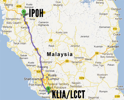 KLIA to Ipoh Map