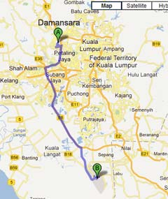 Driving from Damansara to LCCT