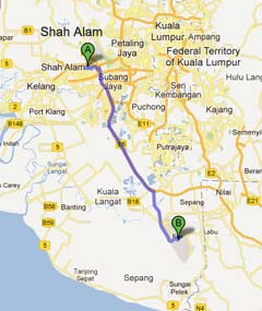 Driving from Shah Alam to LCCT
