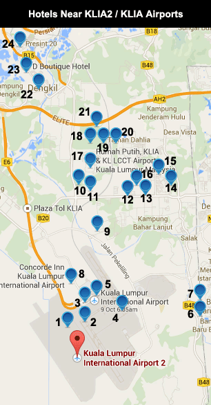 List of Hotels near KLIA2 / KLIA Airports