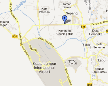 Map to Sky City Hotel, KLIA