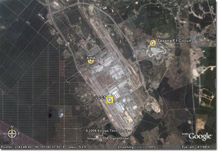 KLIA LCCT on Google Earth