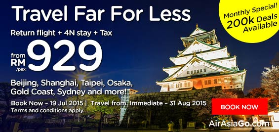 Travel Far For Less, Return flight + 4N Stay + Tax, from RM929/pax. Beijing, Shanghai, Taipei, Osaka, Gold Coast, Sydney and more