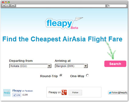 fleapy.com Check Air Fare tool