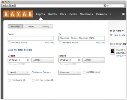 kayak.com Check Air Fare tool