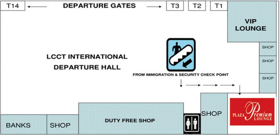 Location of Plaza Premium Lounge at LCCT