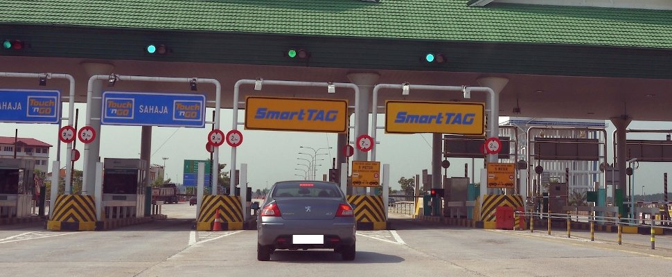 Vehicle approaching toll booths