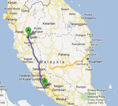 Map from Ipoh to LCCT
