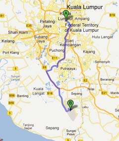 Driving from Kuala Lumpur to LCCT