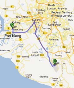 Driving from Port Klang to LCCT