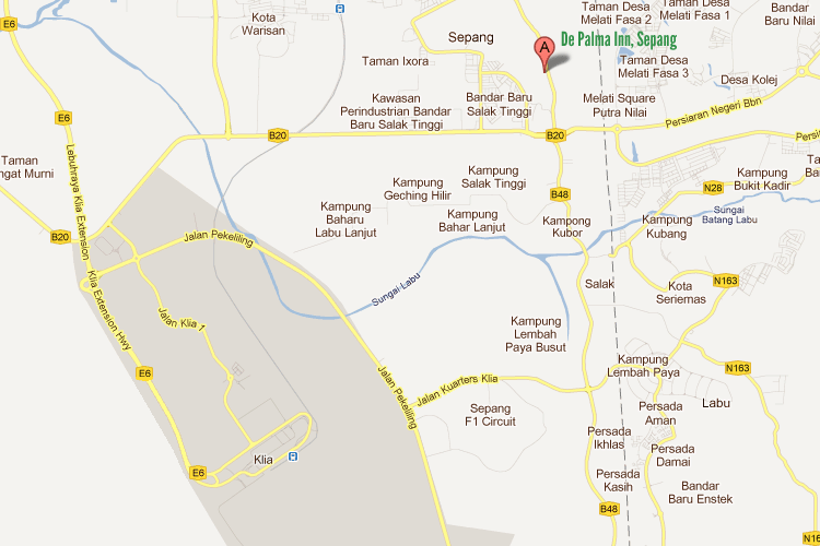 Map to De Palma Inn, Sepang