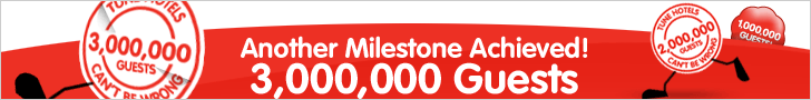 TuneHotels' Another Milestone Achieved - 3,000,000 Guests