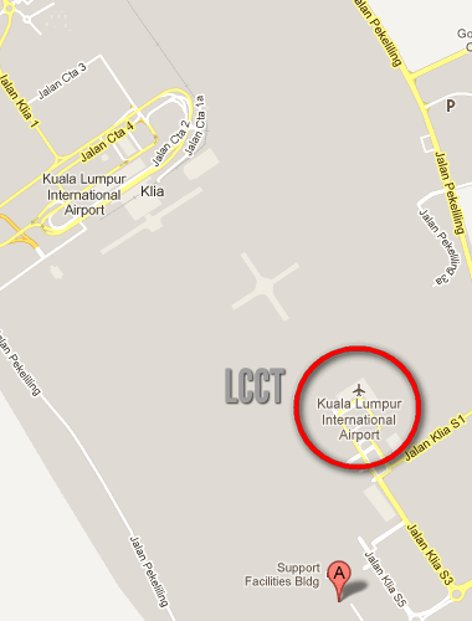 Location of LCCT and KLIA