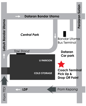 SkyBus - 1 Utama Location Map