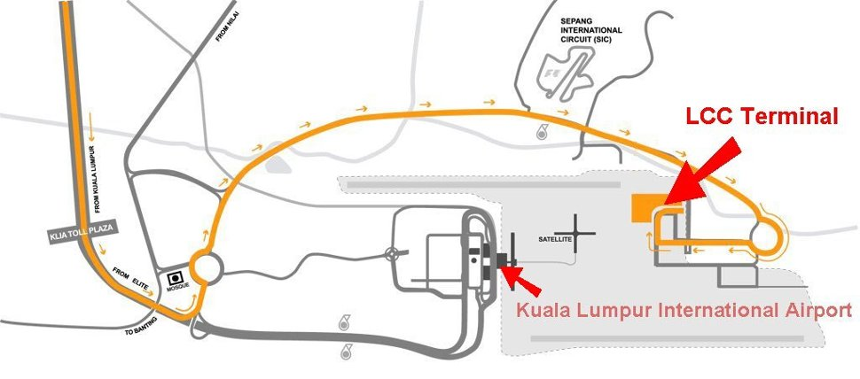 Road map to LCCT airport